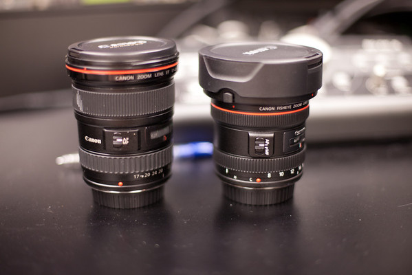 Canon 17-40mm and 8-15mm Lenses with Caps